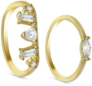 Argentovivo 2-Pc. Set Cubic Zirconia Rings in 18k Gold-Plated Sterling Silver