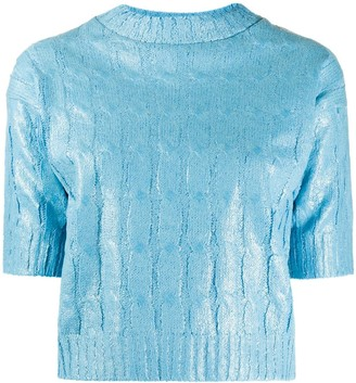 MSGM Waxed Effect Cable-Knit Top