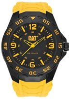 Caterpillar Cat Men's Quartz Watch with Black Dial Analogue Display and Yellow Rubber Strap LB.111.27.137