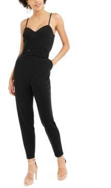 Bar III Belted Crepe Jumpsuit, Created For Macy's