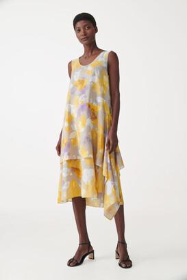Cos Layered Printed Silk Dress