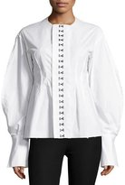 Joseph Franck Balloon-Sleeve Hook-Front Poplin Shirt, White