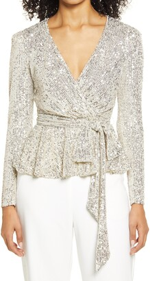 Eliza J Sequin Belted Top