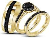 TVS-JEWELS 925 Sterling Silver Engagement Wedding Band Ring Set W/ Round Cut Black CZ