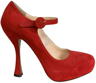 Prada Mary Jane Red Suede Heels