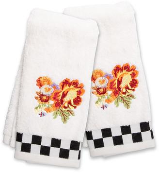 Mackenzie Childs Peony Fingertip Towels Set of 2