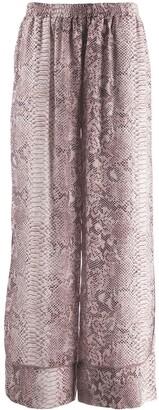 Gold Hawk Snakeskin Print Flared Trousers
