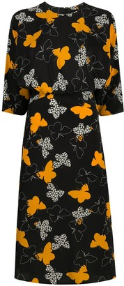 RED Valentino Butterfly-Print Mid-Length Dress
