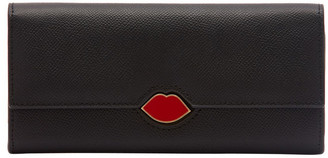 Lulu Guinness Black Leather Cora Wallet