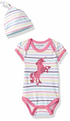 Hatley Little Blue House Baby Girls' Bodysuit and Cap Toddler Sleepers
