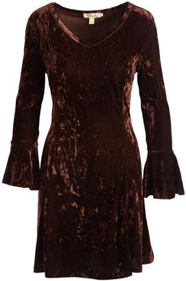 Aryeh Women's Casual Dresses Brown - Brown Velvet V-Neck Flare-Sleeve Fit & Flare Dress - Women