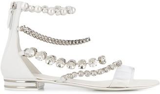 Casadei Embellished Strap Low Heel Sandals