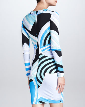 Emilio Pucci Square-Neck Side-Ruched Print Dress, Blue/Multicolor