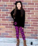Beary Basics Black & Purple Bat Long-Sleeve Tee & Leggings - Toddler & Girls