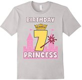 Men's Birthday Girl Shirt For 7 Seven Year Old Princess Crown Wand Large