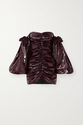 Rotate by Birger Christensen Phoebe Off-the-shoulder Ruched Vinyl Mini Dress - Burgundy