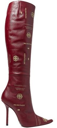 Vetements Embossed Printed Textured-leather Knee Boots