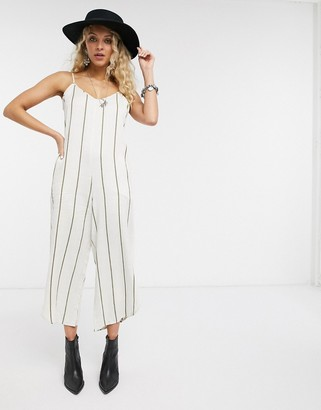 En Creme relaxed cami jumpsuit in fine stripe
