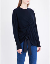 Sandro Asymmetric-ruching wool and cashmere-blend jumper