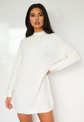 Missguided White Rib Knit High Neck Sweater Dress