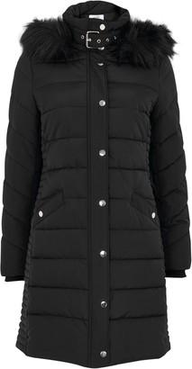 Wallis PETITE Black Quilted Midi Coat