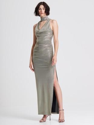 Halston Draped Neck Metallic Knit Gown