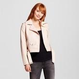 Xhilaration Women's Faux Leather Fashion Moto Jacket Blush Pink