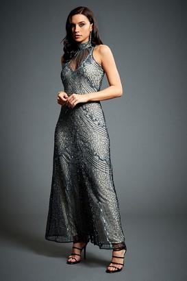Jywal London Susan Grey Embellished Evening Maxi Dress
