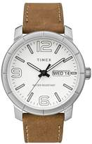Timex Men's Classic White Dial Tan Leather Strap Watch
