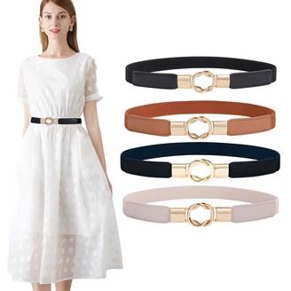 WERFORU Elastic belt women's skinny belt for dresses retro stretch waist belt thin belt with metal buckle pack of 4 - Multicolour - One size