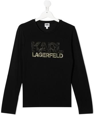 Karl Lagerfeld Paris TEEN glitter logo sweatshirt