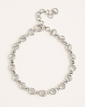 Chico's Silvertone Link Bib Necklace