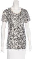 Saint Laurent Short Sleeve Cheetah Print Top