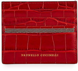 Brunello Cucinelli Croc-Embossed Leather Card Case with Monili
