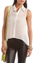 Charlotte Russe Studded Collar Hi-Low Blouse