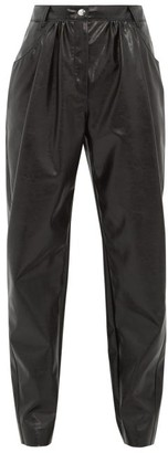MSGM High-rise Faux-leather Tapered Trousers - Womens - Black