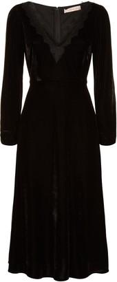 Traffic People V-neck Angela Midi Dress In Black Velvet