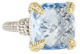 Judith Ripka Two-Tone Blue Quartz & Diamond Ring