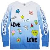 Flowers by Zoe Girls' Ombré Love Sweatshirt with Lattice-Cutout Sleeves - Big Kid