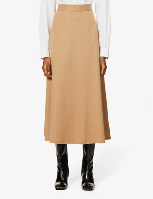 Giuliva Heritage Collection Ada flared stretch-camel midi skirt