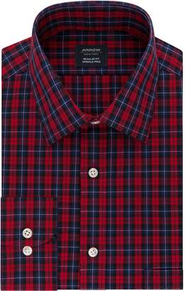 Arrow Men's Regular-Fit Plaid Stretch Spread-Collar Dress Shirt