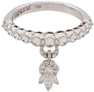 YEPREM 18kt White Gold Diamond Charm Ring