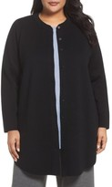 Eileen Fisher Plus Size Women's Mandarin Collar Merino Cardigan