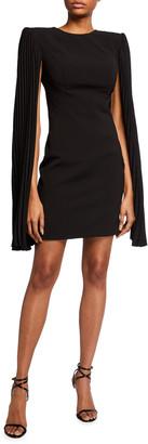 Jovani Split Capelet-Sleeve Open-Back Cocktail Dress