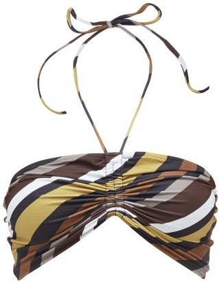 Ganni Ruched-front Striped Recycled-technical Bikini Top - Womens - Blue Multi