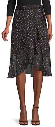 J.o.a. Moody Floral-Print Wrap Midi Skirt