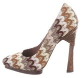 Missoni Embroidered Pointed-Toe Pumps