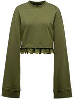 Fenty Puma by Rihanna Cropped Lace-Hem Long-Sleeve Sweatshirt, Green