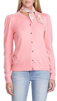 Lauren Ralph Lauren Puffed-Sleeve Slim-Fit Cotton-Blend Cardigan