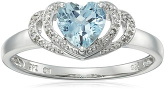 Amazon Collection Sterling Silver Aquamarine and Diamond Accent Open Halo Heart Ring Size 8